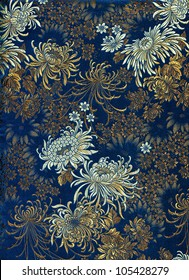 Chinese silk with flower motive. Chrysanthemums.