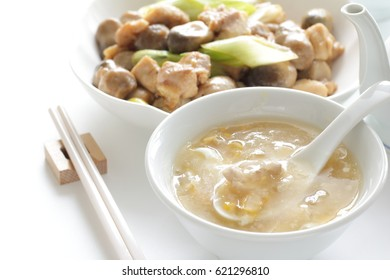Chinese soup, corn and chicken with egg