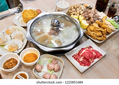 Chinese steamboat hotpot shabu dinner at restaurant, with meat, seafood and vegetable
