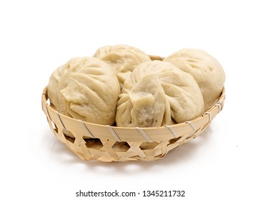 Chinese Steamed Buns isolated   on white background.