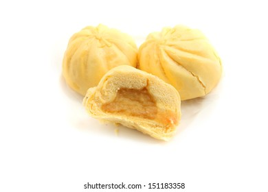 Chinese Steamed custard Buns isolated on white