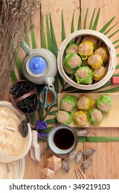 Chinese steamed dumpling and hot tea delicious