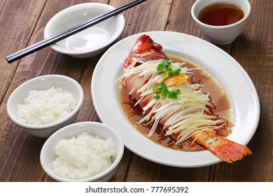 chinese steamed red grouper with ginger, scallions and soy sauce