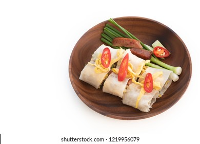 Chinese Steamed Rice Noodle Rolls on isolated white background