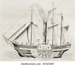Chinese steamer old illustration. By unidentified author, published on Magasin Pittoresque, Paris, 1843