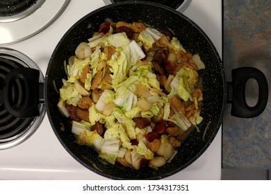 Chinese Stir-Fry with Water Chestnut, Vegetarian Chop Suey, Wombok Cabbage and Chinese Sausage (Lup Chong)
