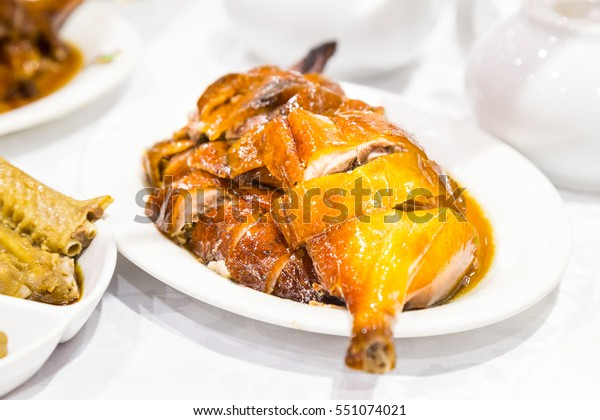 Chinese style bbq roast goose served on plate