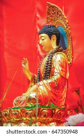 Chinese style Buddha Image with red background