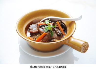 Chinese style Clay Pot Pork Leg Rice Bowl  Hong kong style clay pot rice bowl with pork leg