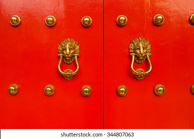 Chinese style door knob woth lion head knocker