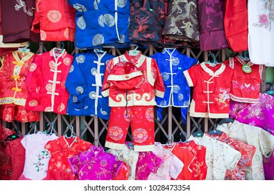 Chinese style dress in small size for children for sell at local shop, Yaowarat, Bangkok, Thailand