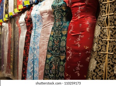 Chinese style dresses. Temple street market. Hong Kong.
