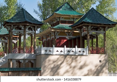 Chinese style house in the Park. Parkland.