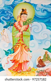 Chinese style painting art on temple wall,Thailand