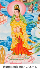 Chinese style painting art on temple wall