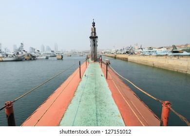 Chinese submarine deck in Qingdao, China