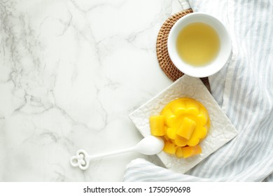 Chinese sweet food, mango pudding with copy space for gourmet dessert