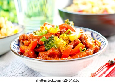 Chinese sweet sour chicken with vegetable