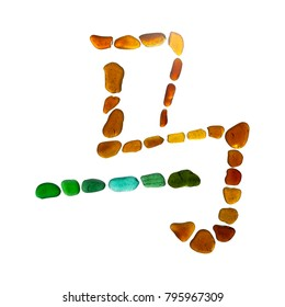 Chinese symbol ma, horse, Simplified version made of sea glass on white background