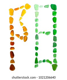 Chinese symbol yan -  male, light, sun, positive, etc made of sea glass on white background