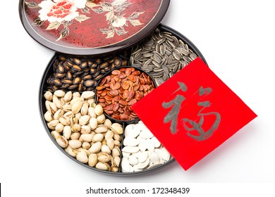 Chinese sytle snack tray and chinese calligraphy, meaning for blessing good luck