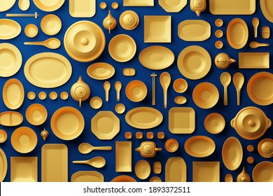 Chinese tableware bowl, cup, pot, teapot, chopstick, plate and dish 3D rendering multiple gold color, Food asian culture concept design on blue background
