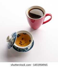 Chinese tea or Americano. Tea or coffee. Preference for either tea or coffee. Eastern or western culture contrast concept.