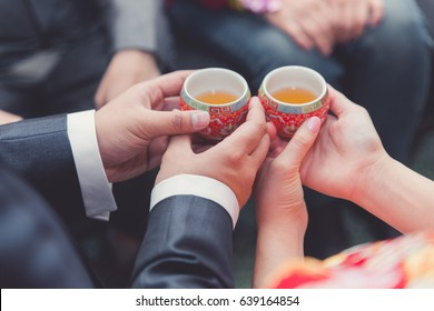 Chinese tea ceremony cups in wedding day