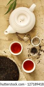 Chinese tea. Pu erh Puerh Tea Cake, top view