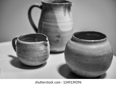Chinese teapot and cups for tea. Black and white photography