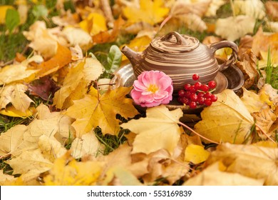 Chinese teaset in autumn leaves