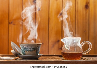 chinese tea-set for tea ceremony with black tea and vapor