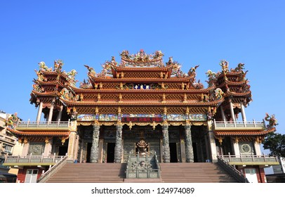 Chinese temple and blue sky in Taiwan