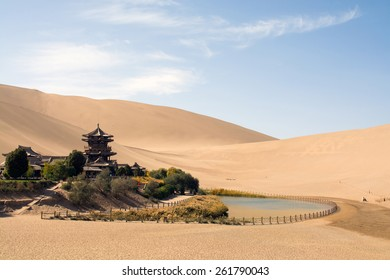 Chinese temple in desert, Mingsha Shan, Dunhuang, China