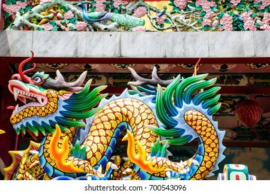 Chinese temple, dragon, foothills, the goddess of the shrine. , Which is the worship of the common people
