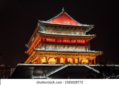 Chinese Temple Gate in Xian at night