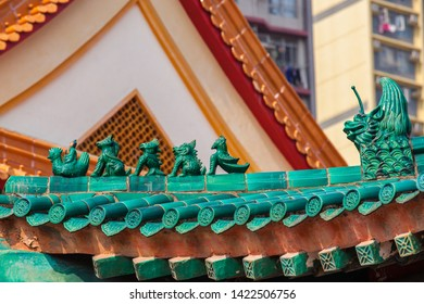 Chinese temple roof ornaments close-up