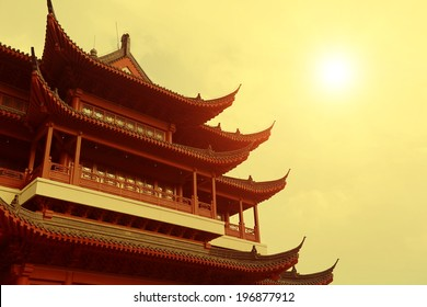 chinese Temple in sunset