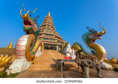 Chinese temple wat hyua pla kang Chiang Rai Thailand. They are public domain or treasure of Buddhism. white big Guanyin statue in Chiang Rai the biggest Guanyin in the world.