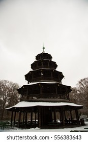 Chinese Tower in munich, winter time - Shutterstock ID 556383643