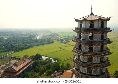 Chinese tower style with rice field background