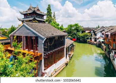 Chinese traditional architecture and canal in Shanghai Zhujiajiao water town