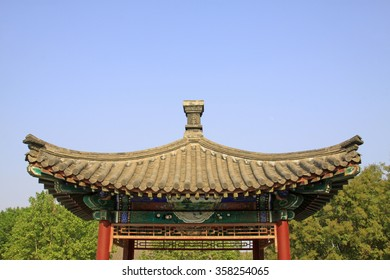 Chinese traditional building roof, closeup of photo