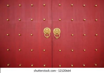 Chinese Traditional Crimson Wooden Door & Chinese Crimson Door Traditional Wooden Images Stock Photos ...