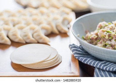 Chinese traditional cuisine hand made meat dumplings and minced meat