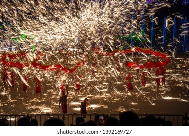 Chinese traditional culture-Dragon Dance .Chinese New Year's iron and water performance, will produce the effect of fireworks