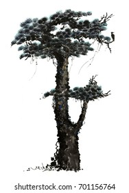 Chinese traditional distinguished gorgeous decorative hand-painted ink-pine tree,Symbolic:Longevity, strong, good life