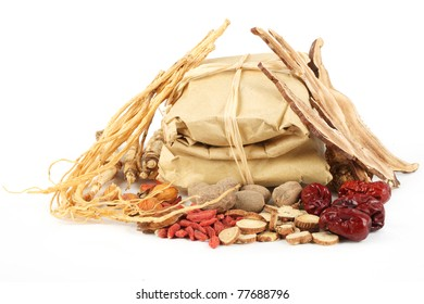 Chinese traditional herbs or medicine isolated on white background.