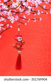 chinese traditional knot,calligraphy fu mean good bless,2016 is year of the monkey