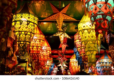 Chinese traditional lantern on market, a famous old shopping street in Pingyao, China.